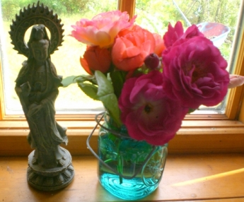 Quan Yin and roses